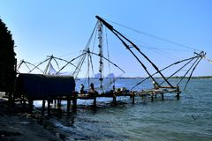 Chinese fishing nets Stock Photo