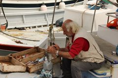 Fisherman Cleaning Fish. A Fisherman cleaning fresh caught fish in the harbour of Rhodes, Greece Royalty Free Stock Images