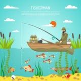 Fisherman Color Design Concept Stock Photo