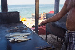 FIsherman cooking Stock Images