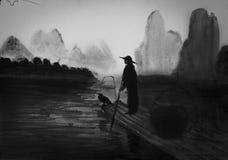Fisherman and cormorant Royalty Free Stock Image