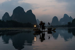 Fisherman cormorant Li river, Guilin Yangshuo Guangxi  China Royalty Free Stock Photography