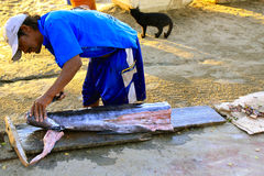 Fisherman cutting tuna, Acapilco, Mexico Royalty Free Stock Photography