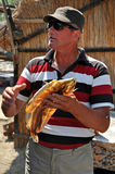 Fisherman in the Danube delta, Romania Royalty Free Stock Images