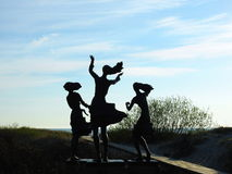 Fisherman daughters sculpture near Baltic sea, Lithuania Stock Images