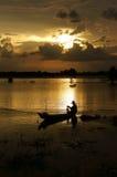 Fisherman do fishing on river Stock Photography