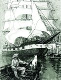 Fisherman with dog in boat and large sailing ship stock illustration