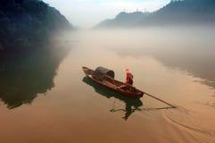 Fisherman in Dongjiang River Stock Image