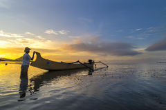 Fisherman early morning Royalty Free Stock Image