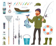 Fisherman Elements Set Royalty Free Stock Image