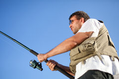 Fisherman enjoying his hobby Stock Photo