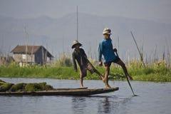 Fisherman/Equilibrist on Inle Lake Royalty Free Stock Image
