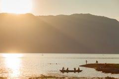 Fisherman on Fewa Lake, Pokhara, Nepal Stock Photo