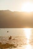 Fisherman on Fewa Lake, Pokhara, Nepal Royalty Free Stock Photography