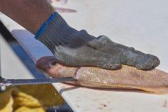 Fisherman filleting fish Stock Photography