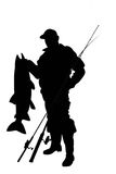 Fisherman with a fish. Black silhouette of fisherman with a fish stock illustration