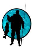Fisherman with a fish. On a blue water background stock illustration