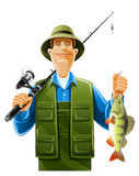 Fisherman with fish. Fisherman with rod spinning and fish illustration isolated on white background stock illustration