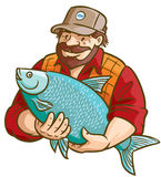 Fisherman With Fish. Vector illustration. Nice for logo, advertising etc stock illustration