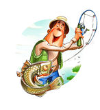 Fisherman and fish. Eps10 vector illustration.  on white background Royalty Free Stock Photo