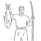 Fisherman with fish coloring book vector. Fisherman with fishing rod and fish caught coloring book vector illustration. Comic book style imitation Stock Photography