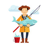 Fisherman and Fish Illustration. Isolated on white background Stock Photo