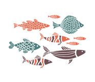 Fisherman and fish illustration vector. Fish abstract illustration Set Editable stock illustration