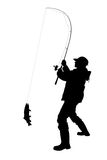 Fisherman with a fish isolated. Black silhouette of fisherman with a fish isolated Royalty Free Stock Photos