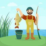Fisherman with fish. Man with big fish and tackle vector illustration