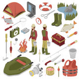 Fisherman with Fish, Rod, Hook and Boat. Fishing Tools. Vector flat 3d isometric illustration Royalty Free Stock Photos