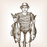 Fisherman with fish sketch vector Royalty Free Stock Image