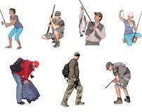 Fisherman,fisherwoman with tackl and catching fish Royalty Free Stock Images