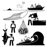 Fisherman Fishery Industry Industrial cliparts. Human pictogram stick figures showing the fishery industry with large boat and big net in the sea. It also shows Royalty Free Stock Image