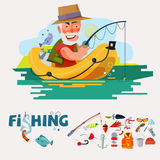 Fisherman fishing on the boat with fishing equipment. fishery ic. On set. graphic element. typographic design .character design. -  illustration-  illustration Royalty Free Stock Photography