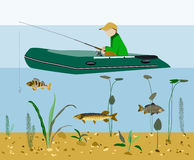 Fisherman fishing in a boat flat vector concept Stock Photos