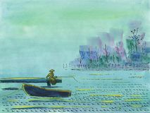 The fisherman is fishing on the bridge on a lake royalty free illustration