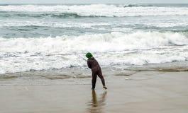 A fisherman fishing. Deep sea fishing. Sunrise Tropical fisherman angling with a fishing rod in sea scenics landscape stock photo