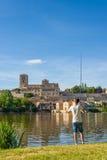 Fisherman fishing in Duero river. Zamora, Spain. Royalty Free Stock Photos
