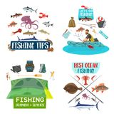 Fishing sport icons with fisherman, fish and boat stock illustration