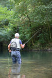 Fisherman with fishing hook in the river Royalty Free Stock Photos