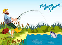 Fisherman fishing at lake with rod and catching fish. Sport outdoor fishing or fisherman relaxation at his hobby,bucket with fish and reed, mountain landscape Royalty Free Stock Photography