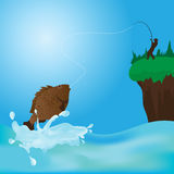 Fisherman fishing at lake with rod and catching fish. Vector illustration Royalty Free Stock Photo