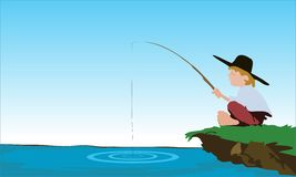 Fisherman fishing in the lake vector Royalty Free Stock Photography