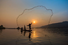Fisherman Fishing Royalty Free Stock Photography