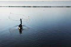 Fisherman fishing with net. Fisherman on boat, fishing with net stock photography