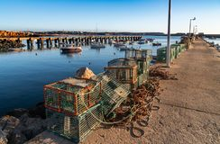 Fisherman fishing net on the docks royalty free stock images