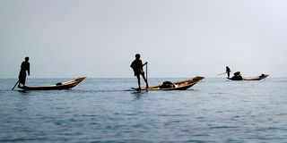 Fisherman fishing with net stock photo