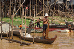 Fisherman with fishing net Royalty Free Stock Images