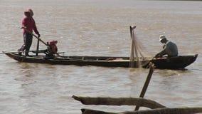 Fisherman, fishing net , mekong cambodia, southeast asia stock footage