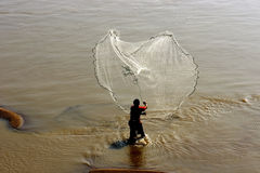 Fisherman fishing by net Stock Photography